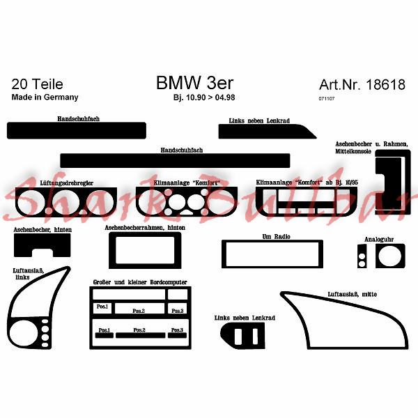 BMW 3 Series / BMW 3 Series E46 From 04.98 DASH TRIM 25 Parts