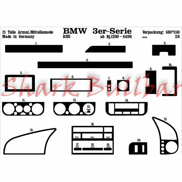 BMW 3 Series / E46 Compact 04.98 DASH TRIM 19 Partss