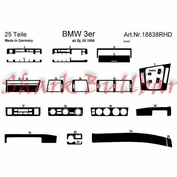 BMW 3 Series / E46 Compact 04.98 DASH TRIM 19 Partss